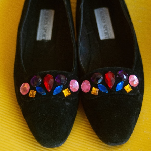 8b7aad271c Lauren Ralph Lauren Shoes | Ralph Lauren Sport Black Jeweled Flat 75 ...